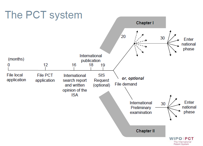 The procedure for filing application through the PCT system